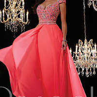 Long V-Neck Cap Sleeve Gown by Panoply