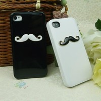 Leegoal(TM) Two pieces 3D Chaplin mustache Case Cover Shell For iPhone 4 4S 4GS lovers & couple HZ