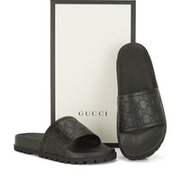 Gucci Trending Fashion men and women Stars Print Casual Sandal Slipper Shoes Black G