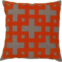 Layered Blocks Throw Pillow Neutral, Orange
