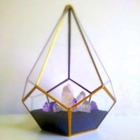 Gold Teardrop Terrarium / Crystal Garden / Geometric Decor from Lonesome Hobo Glass