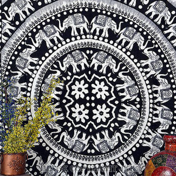 Elephant Mandala White Tapestry Hippie Hanging Indian Bohemian TIUK SBS031WH