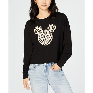 Love Tribe Juniors' Long-Sleeve Mickey-Mouse-Graphic T-Shirt
