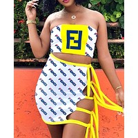 Fendi tide brand female color contrast letter print sexy fashion skirt set two-piece