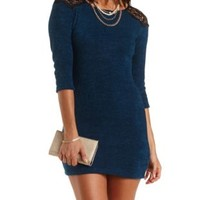 Sweater Knit & Lace Dress by Charlotte Russe - Deep Teal Green