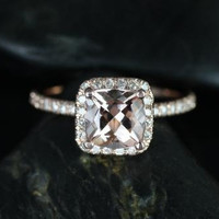 Pernella 14kt Rose Gold Thin Cushion Morganite Halo Engagement Ring (Other metals and stone options available)