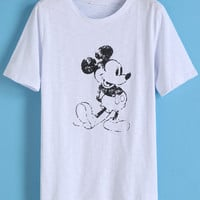 Dip Hem Cartoon Character Print T-shirt