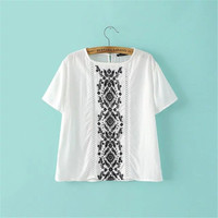 SIMPLE - Popular Fashionable Summer Beach Holiday Loose Short Sleeve Casual Boho Top Shrit T-shirt T-shirt b2414