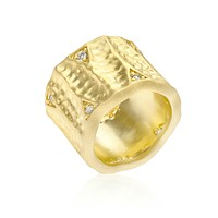 Emilia Textured Matte Golden Eternity Ring | 0.5ct | Cubic Zirconia | 18k Gold
