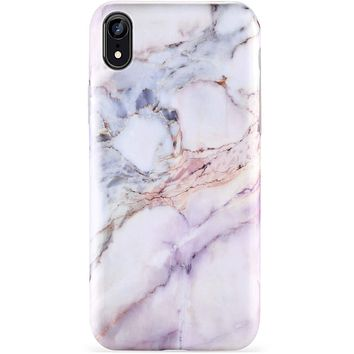ZADORN iPhone Xr Cases for Girls,iPhone Xr Silicone Case Pink Purple Marble for Women, Slim Fit Soft Silicone Rubber TPU with Clear Bumper Protective Phone Case for iPhone Xr [6.1 inch]