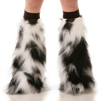Luminous Black and White Fluffies : Camo Pattern Fluffy Legwarmers from Indyglo