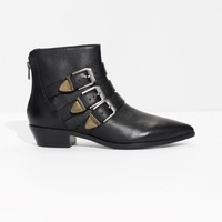 & Other Stories | Buckle Leather Boots | Black