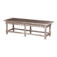 Coffee Table/Bench With Ornamental Apron White