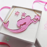 Pink Mermaid Jewellery Gift Box / Mermaid gifts / Gift set for her