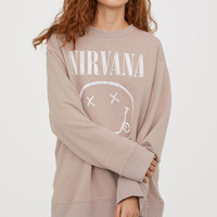 Oversized Sweatshirt - Light taupe/Nirvana - Ladies | H&M US
