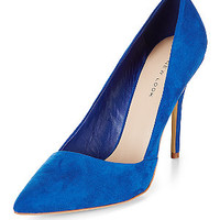 Blue Suedette Pointed Court Shoes