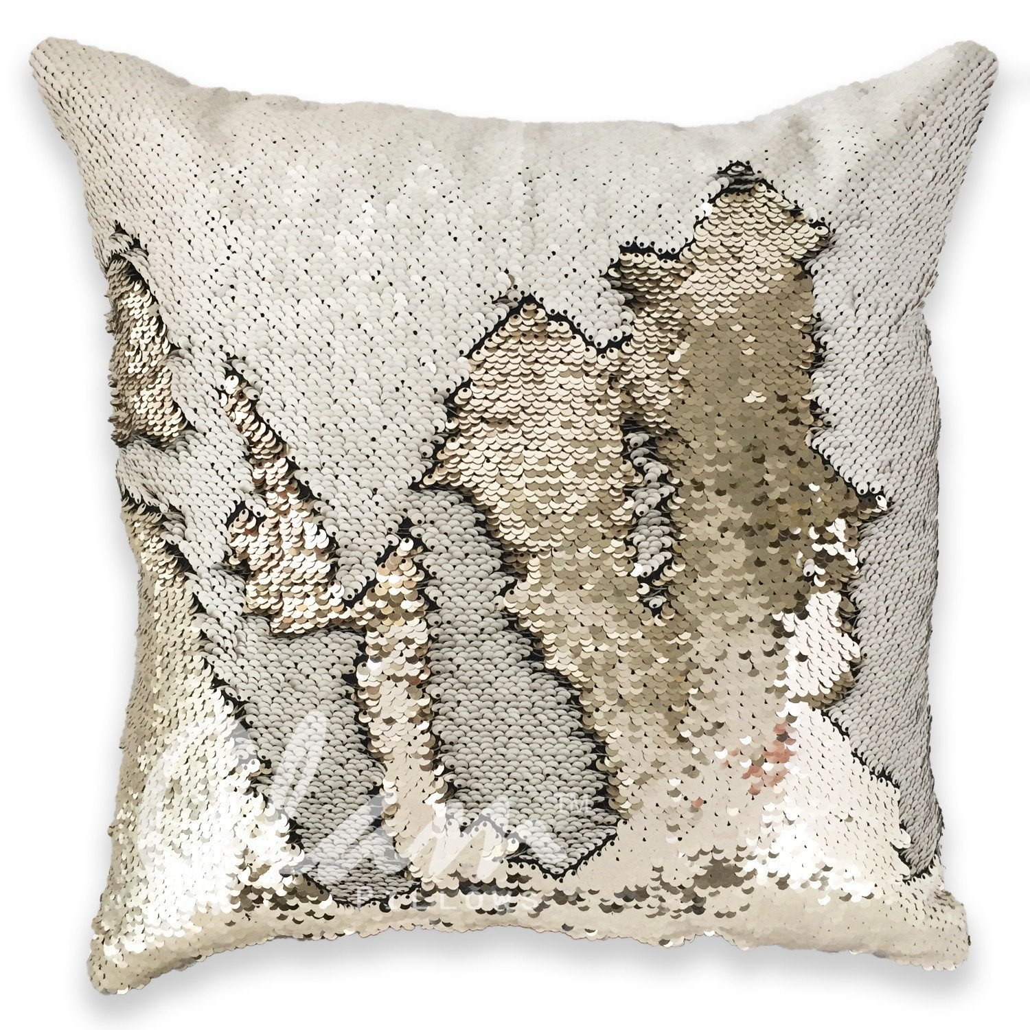 Image of Ivory & Beige Reversible Sequin Glam Pillow