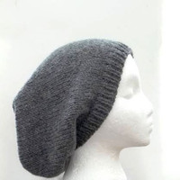 Gray Wool Slouchy beanie  oversized hand knitted men and women 4809