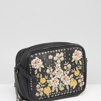 ASOS Leather Floral Embroidered Cross Body Bag at asos.com