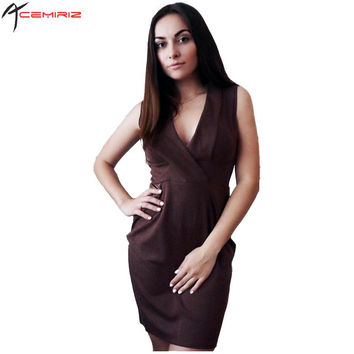 2017 Spring Summer Bodycon Elegant Black Dress Deep V-neck PU Leather Patchwork OL Pencil Dresses Women Office Lady Work AWD0006