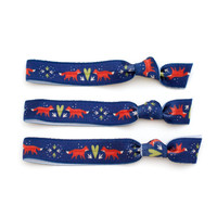 The Fox Package - 3 Woodland Creature Elastic Print Hair Ties that Double as Bracelets by Mane Message on Etsy