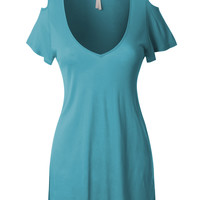 LE3NO Womens Lightweight V Neck Flowy Tunic Top (CLEARANCE)