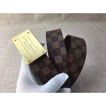 LOUIS VUITTON Men's LV Leather Size Sliver Buckle Leather Belt Monogram