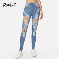 ROMWE Blue Ripped Bleach Wash Skinny Denim Jeans Spring Women Casual Button Fly Mid Waist New Style Trousers Fashion Long Pants
