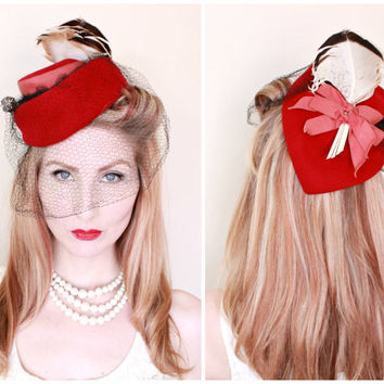 RESERVED 4 Beccie / 1940s Hat / VINTAGE / 40s Hat / Tilt / Toy / Red / Feathers / Bows