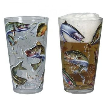 4 Pack 16 oz. Fish Glass Set