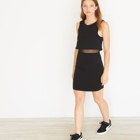 Overlay Bodycon Dress With Mesh