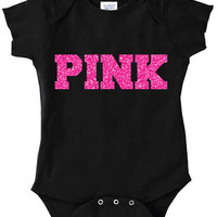 PINK graphic black baby bodysuit sparkle babe glitter choose color trendy girls infant newborn gold silver hipster Onesuit VS Pink Clothes