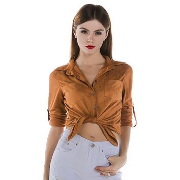 Lonesome Road Brown Faux Suede Tab Button Long Sleeve Button Blouse Top