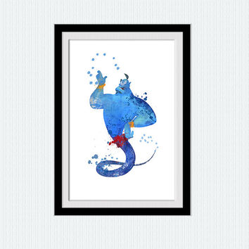 Disney art print Aladdin Genie watercolor poster Disney decor Genie print Home decoration Kids room wall art Nursery room decor  W650