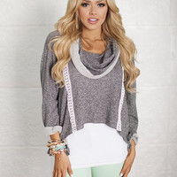 True Love Lace High Low Sweater Charcoal