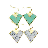Turquoise Geometric Strong Character Earrings [4956879620]