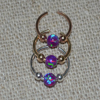 Opal Nose Cuff / Ear Cuff, Sterling Silver Non Pierced, Fake Nose Ring, helix/cartilage/tragus/catchless/studs, faux piercing, opal jewelry