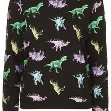 Dinosaur Print Loungewear Sweater - Black