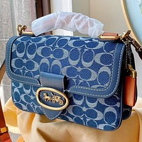 Hipgirls COACH New Fashion Pattern Canvas Shopping Leisure Handbag Shoulder Bag Crossbody Bag Blue