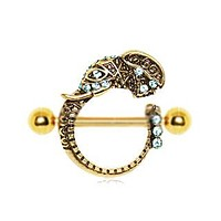 Gold Plated Tribal Elephant Nipple Shield