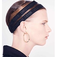 Dior 2019 new embossed letter elastic hair band black