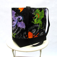 Dragons tote bag shoulder bag green blue purple orange black canvas Daenerys