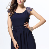 Blue Lace Strap Backless Chiffon Dress