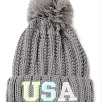 Gray Neon USA Patched Pom Top Beanie