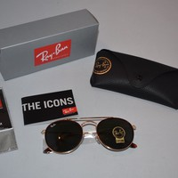 Brand New Ray Ban Sunglasses Round Double Bridge Gold Frames RB3647N