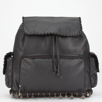Whipstitch Coin Trim Faux Leather Backpack Black One Size For Women 24215310001