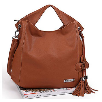 Women's Brown Zipper Shoulder Bag Handbag with Tassels