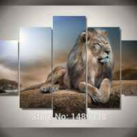 Framed Printed Animals Lion Group Painting living room decoration pictures print painting picture canvas Free shipping F/794