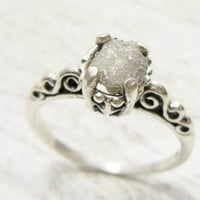 Fancy Uncut Raw Diamond Ring Victorian Style Sterling Band Size 6