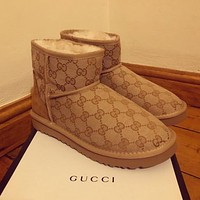 UGG x GUCCI fashion new letter embroidery mid-tube snow boots Shoes